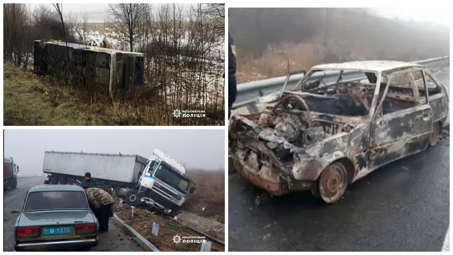 V Odesskoy oblasti 5 DTP na 20 km, vyletel v kyuvet reysovyy avtobus